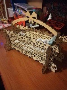 Laser Cut Decorative Basket 3mm Free Vector