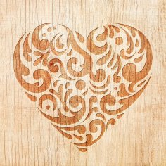 Laser Cut Engraving Decorative Heart Pattern DXF File