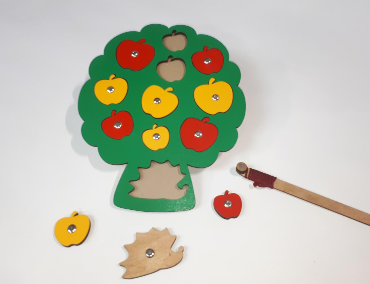 Laser Cut Simple Apple Peg Puzzle Wooden Toy For Preschool Early Learning Free Vector