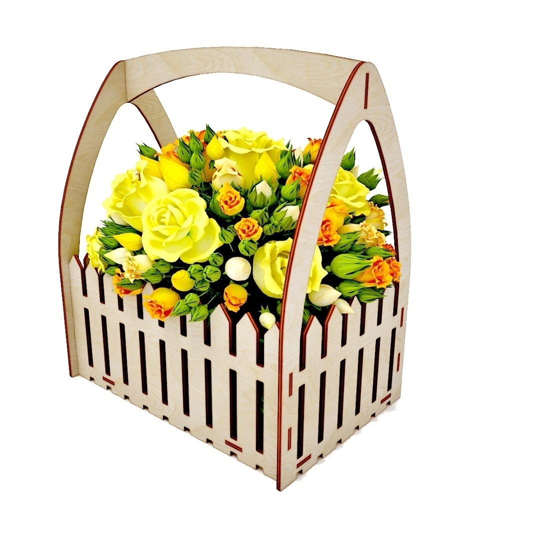 Laser Cut Wooden Flower Box Basket With Fence 4mm Free Vector