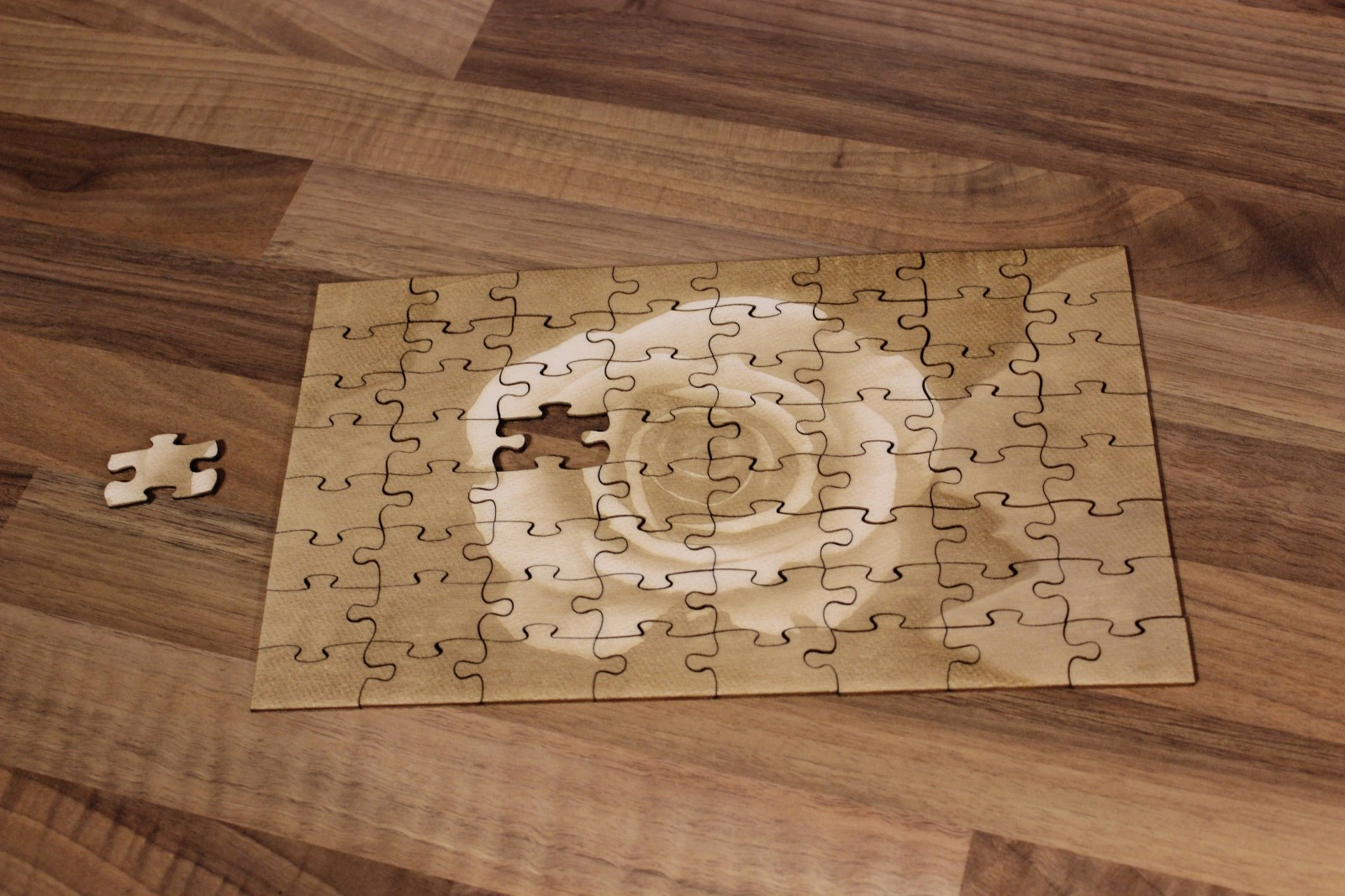 Laser Cut Wooden Jigsaw Puzzle With Engraving SVG File