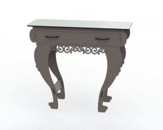 Laser Cut Wooden Table with Drawers Free Vector