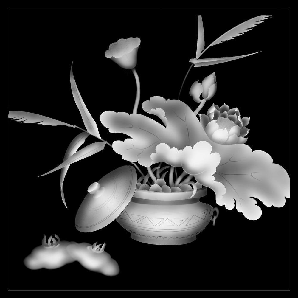 Flower Black And White BMP File