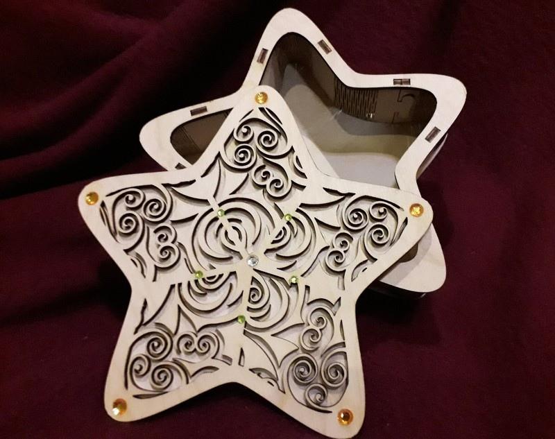 Laser Cut Star Shape Gift Box DXF File