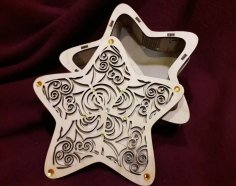 Laser Cut Star Shape Gift Box DXF File