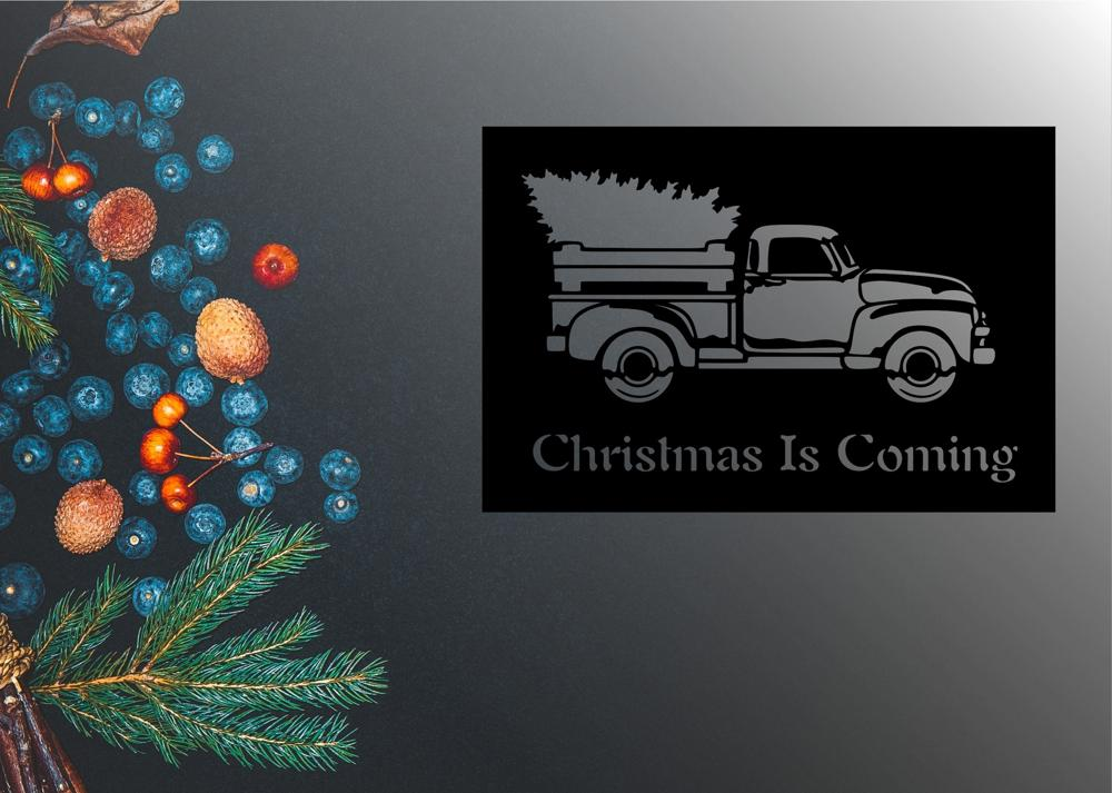 Laser Cut Christmas Is Coming Vector Art Free Vector