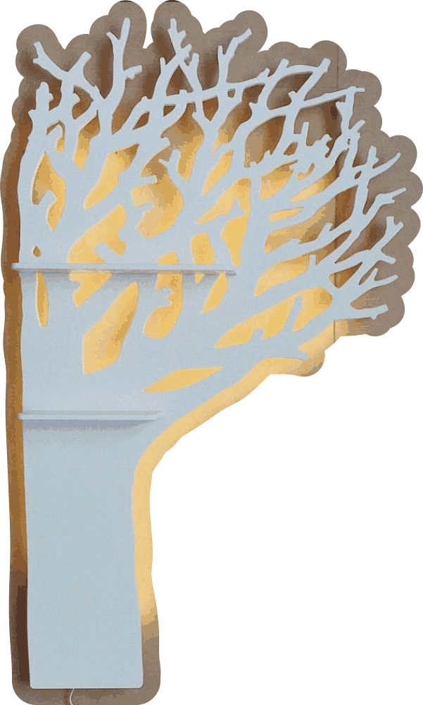Laser Cut Tree-Shaped Shelf Free Vector