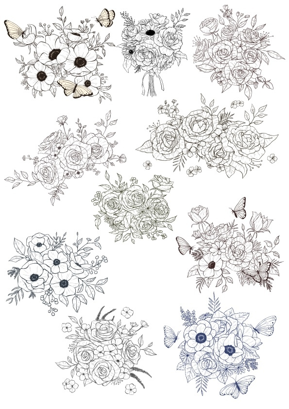 Floral Bouquet Vectors Set Free Vector