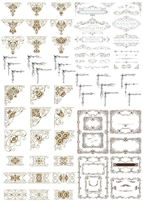 Decor Design Elements Vector Set Free Vector