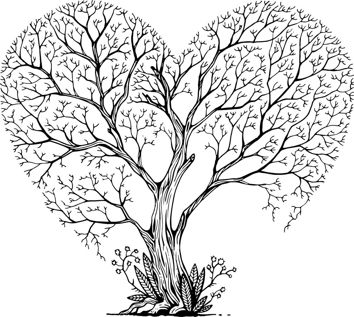Tree Heart Art Free Vector