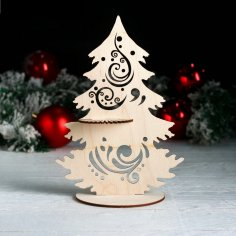 Laser Cut Napkin Holder Tree Shape Free Vector