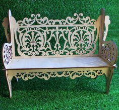 Laser Cut Wooden Decorative Bench 3mm Free Vector