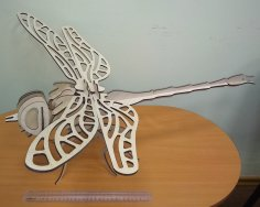 Laser Cut 3D Wooden Dragonfly Free Vector