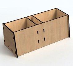 Laser Cut Wooden Simple Desk Organizer Storage Box 3mm Free Vector