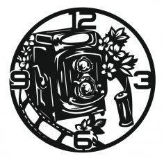 Laser Cut Photographers Wall Clock Camera Clock Free Vector