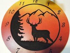 Laser Cut Wooden Deer Clock 12 Inch DXF File