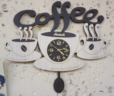 Laser Cut Coffee Cup Wall Clock Free Vector