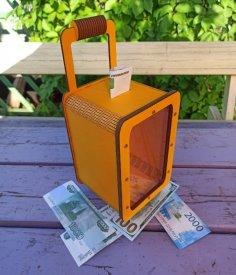 Laser Cut Wooden Suitcase Piggy Bank Free Vector