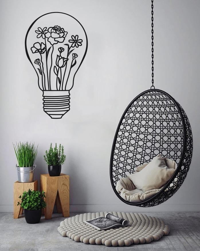 Laser Cut Light Bulb Wall Art Decal Free Vector