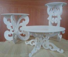 Laser Cut Decorative Table Set Free Vector