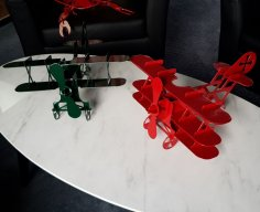 Laser Cut Biplane Toy Airplane Plans DXF File