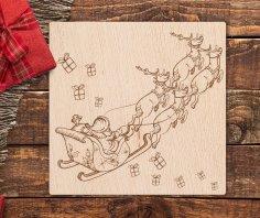 Laser Engraved Christmas Theme Santa Claus Reindeer Sled Free Vector