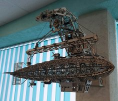 Laser Cut Airship 3D Wooden Puzzle Free Vector