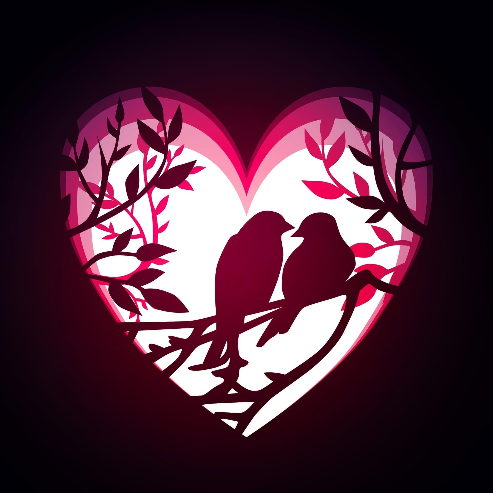 Laser Cut Love Birds Layered Decor DXF File