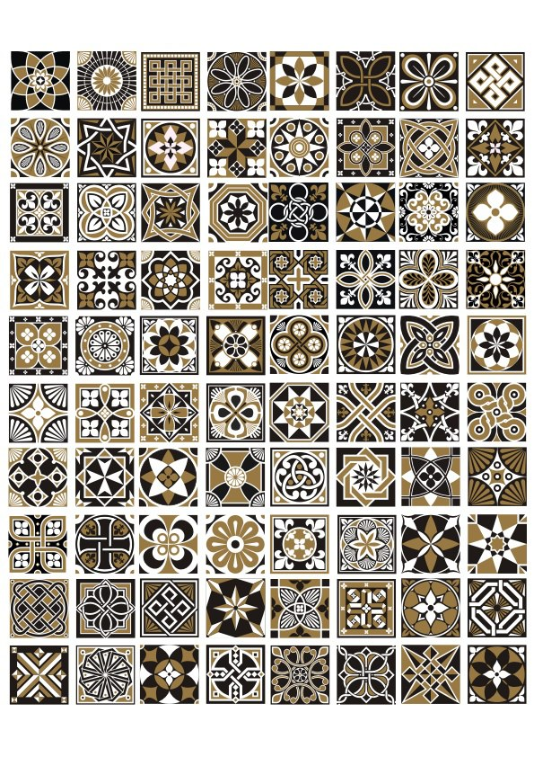 Seamless Geometric Patterns And Ornaments Free Vector