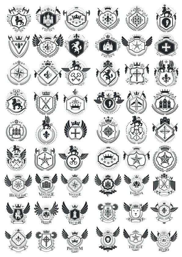 Template of Heraldic Emblems Free Vector