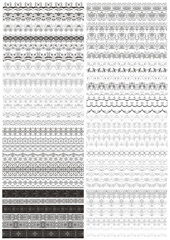 Set of Horizontal Decorative Borders Free Vector