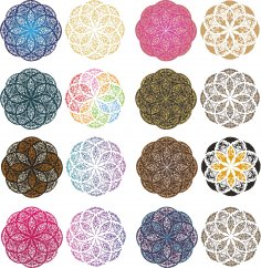 Mandala Color Set Free Vector