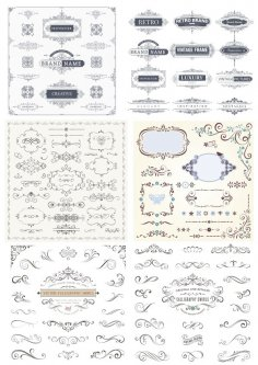 Retro Decor Elements Collection Free Vector