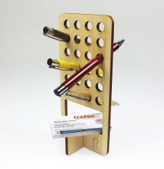 Laser Cut Wooden Pen Holder PDF File