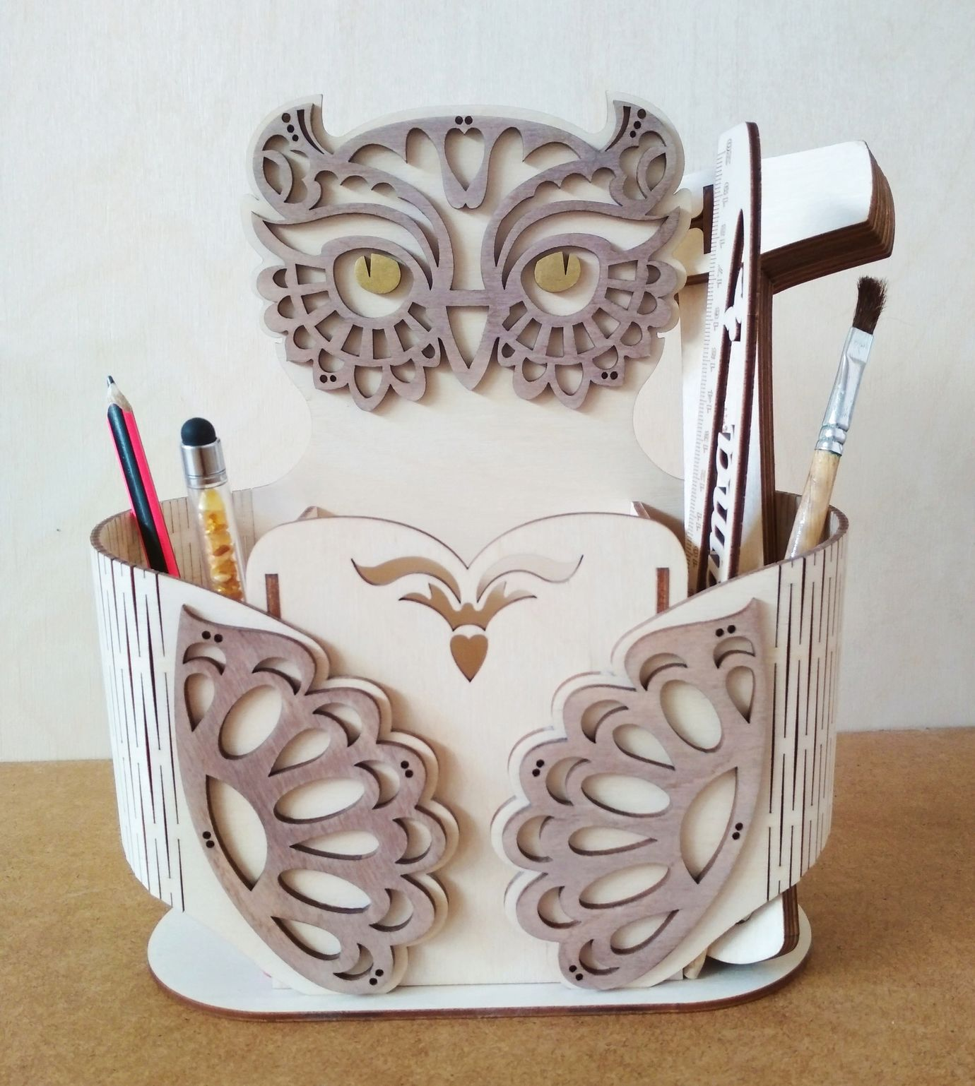 Laser Cut Owl Shape Desk Organizer Pen Holder Free Vector