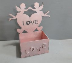 Laser Cut Box with Angels Love Heart Free Vector