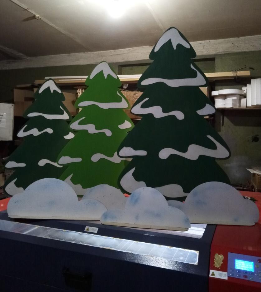 Laser Cut Big Trees Template Free Vector