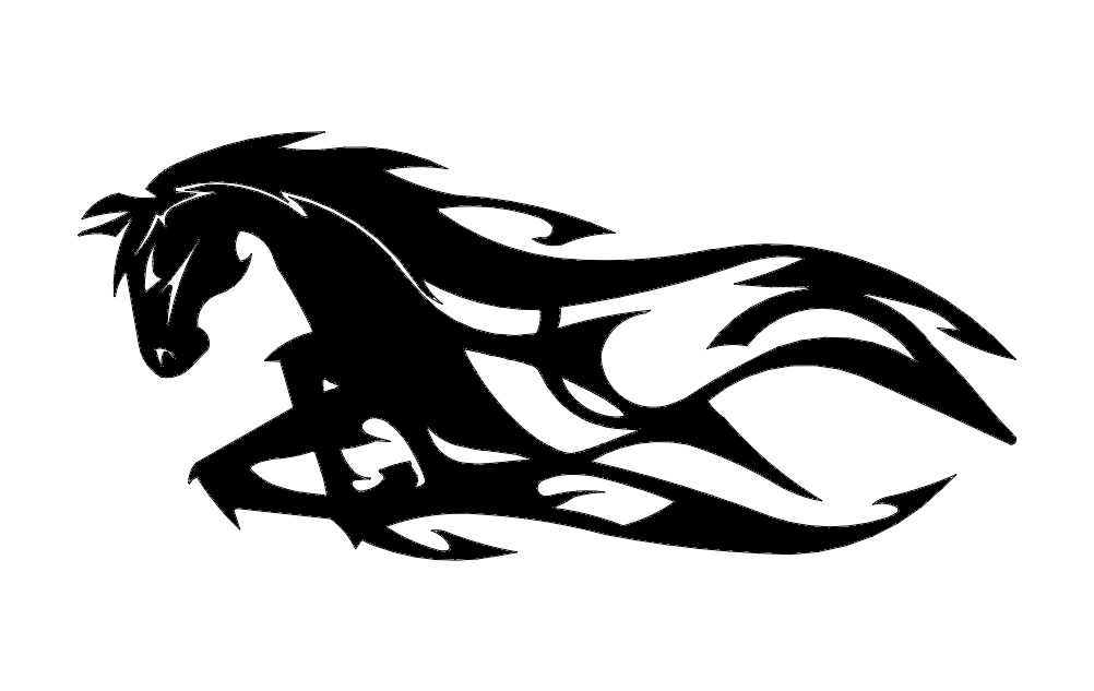Horse Running Flames dxf File