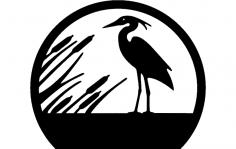 Heron Silhouette dxf File