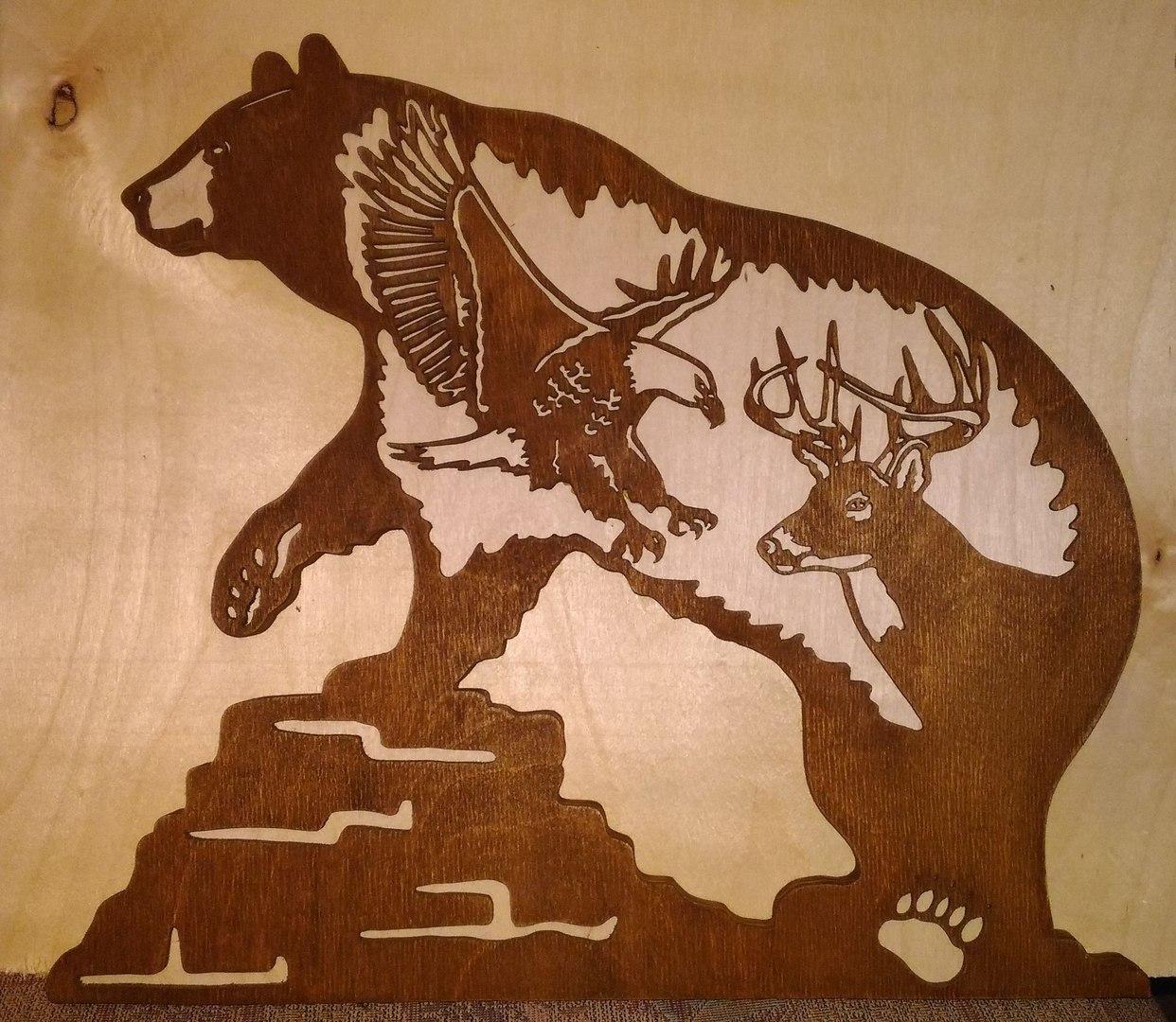 Bear Eagle Plasma Cut Free Vector