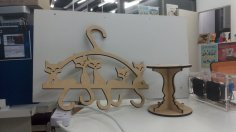 Cat Tail Hanger Laser Cut Free Vector