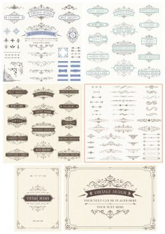 Vintage Retro Decor Elements Free Vector