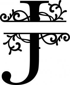 Split Monogram Letter J DXF File