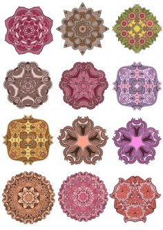 Vector Mandala Ornament Set Free Vector