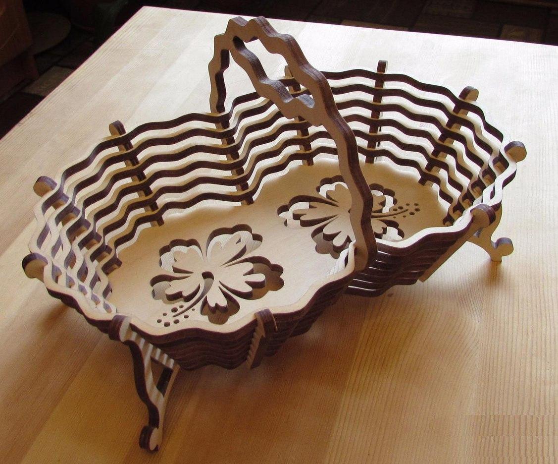 Candy Basket Laser cut vector plan Free Vector