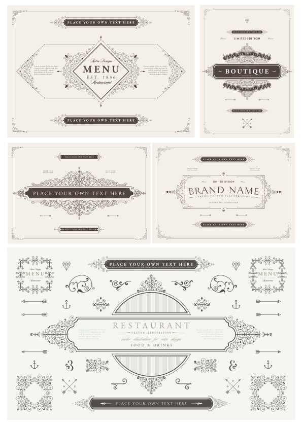 Vector Decorative Frame Set Elegant Elements Free Vector