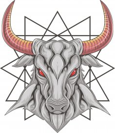 Bull T-shirt Print Design Free Vector