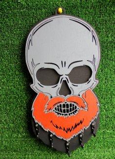 Laser Cut Key Hanger Beard Skull Free Vector