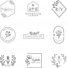 Floral Logo Design Set Free Vector