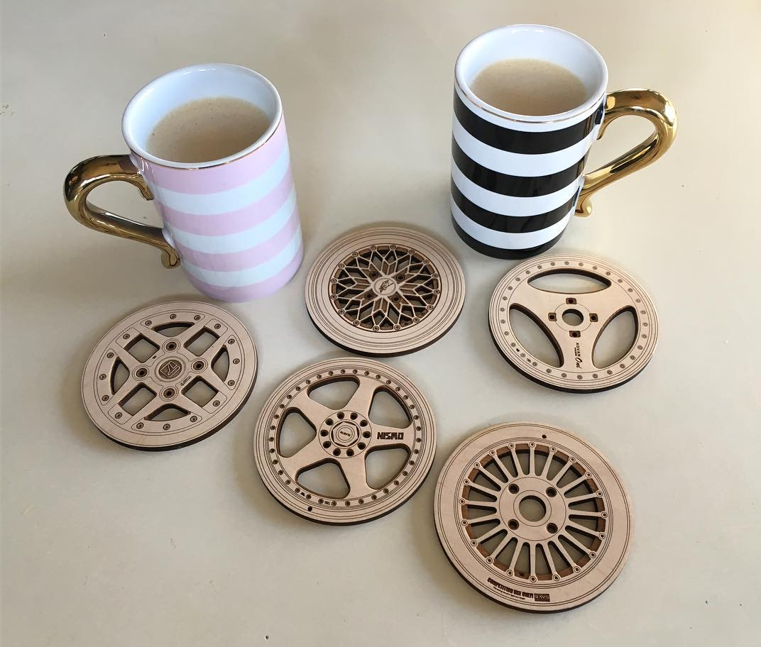 Laser Cut Wheel Coasters Free Vector